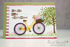 Stampin Up Bike Ride Fahrrad Amsterdam Baum der Freundschaft Tree of life Amsterdam, Stampin Up, Cards, Stamping Up, Friendship, Bicycle, Trees, Map