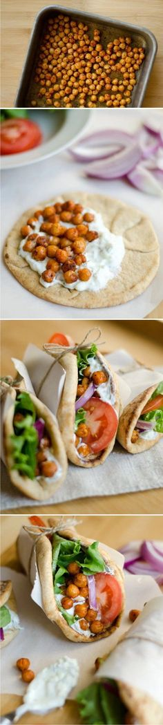 Hearty, vegetarian (with vegan options), and comes together in less than 30 minutes // Live Eat LearnRoasted chickpea gyros! Hearty, vegetarian (with vegan options), and comes together in less than 30 minutes // Live Eat Learn Veggie Recipes, Whole Food Recipes, Cooking Recipes, Easy Recipes, Jello Recipes, Cheap Recipes, Recipies, Bon Appetit, Vegan Recipes
