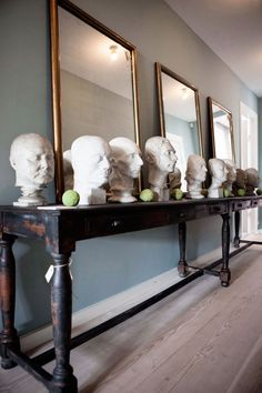 Marble busts at 1stdibs dealer the Apartment, in Copenhagen. Photographed by Maja Hansen