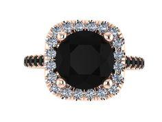 cool Halo Black and White Diamond Engagement Ring Wedding Ring 14K Rose Gold with 8mm Round Black Diamond Center Bridal Set Original Ring- V1090