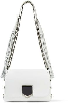 Jimmy Choo - Lockett Petite Tasseled Leather Shoulder Bag - White - one size