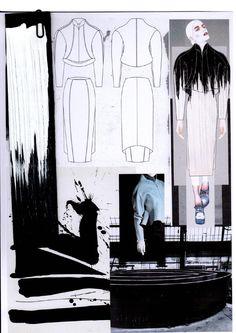 Fashion Sketchbook page - fashion design development with drawings, inspirations & textile samples; graduate fashion portfolio // Rachel Raheja