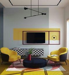 Home Room Design, Interior Design Living Room, Living Room Decor, House Design, Wall Painting Living Room, Bedroom Wall Designs, Living Room Designs, Deco Design, Design 3d
