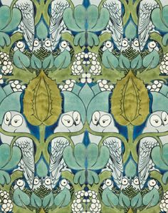 Design for 'The Owl' wallpaper and textile pattern, depicting pairs of owls perched over nests of chicks, amongst large foliage and white berries. Design in shades of green, grey and blue made 1897. Designed by C. F. A. Voysey, born 1857 - died 1941. Pencil and watercolour.