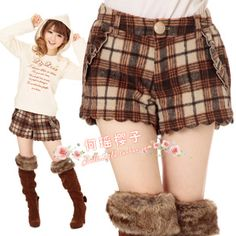 Clara the LIZ LISA wood ear lace bow woolen wave edge autumn and winter shorts boots pants ~ Special Offer - Taobao