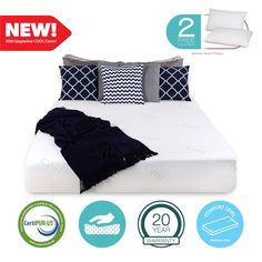 12 inch King COOL & GEL Memory Foam Mattress FREE 2 Pillows & Cover