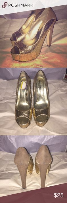 Gold sparkle peep toe heels These shoes were only worn once. They are in good condition. Michael Antonio Shoes Heels