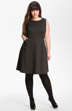 Calvin Klein Herringbone Pattern Ponte Knit Dress (Plus)