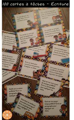 100 cartes à tâches pour le centre d'écriture - plusieurs niveaux pour différencier, différents textes (narratif, descriptif, paragraphe, argumentatif, poème etc.).