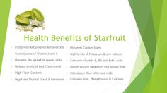Health Benefits of Starfruit (also contains antimicrobials that reduce skin inflammation and treat acne. High in zinc)