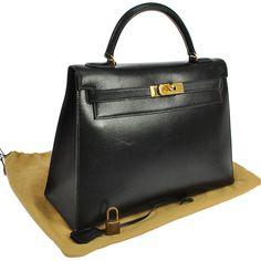 3ab84dd150 Authentic HERMES KELLY 32 Black Box Calf Hand Bag Vintage France GHW LP08334