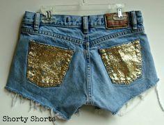 High Waisted Glitter Shorts- diy idea