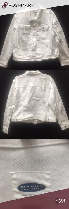 NWNT Solid White Old Navy Button Down Jacket. Solid White never worn with Two front button pockets on Chest. Two fronts pockets with two buttons on the back at the bottom of the hem to adjust the waist. Old Navy Jackets & Coats Jean Jackets