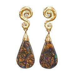 Pamela Froman Boulder Opal Crush Earrings | From a unique collection of vintage dangle earrings at https://www.1stdibs.com/jewelry/earrings/dangle-earrings/