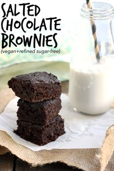 Vegan Salted Chocolate Brownies - fudgy and decadent, but surprisingly healthy! | love me, feed me Plant-based, vegan, vegetarian, and gluten-free recipes