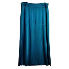 Blue Maxi Skirt Exclusively Misook Womens Size L Long Straight Side Slit f597
