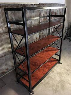 Industrial Bed, Industrial Bookshelf, Modern Bookcase, Industrial Furniture, Tall Bookshelves, Custom Bookshelves, Modern Headboard, Headboard And Footboard, Bookshelf Headboard