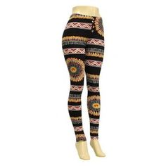 """""""Get Fired Up"""" Feather and Chevron Pattern Stretch Leggings"""
