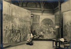 """Alphonse Mucha working on the canvases for """"The Slav Epic"""", 1926"""