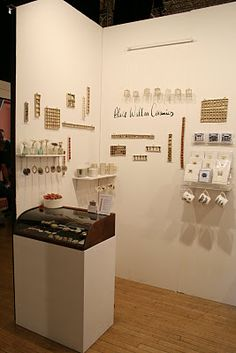 Alice Walton at Made in Brighton. Maximizes classic white wall to display and label products.