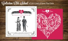 """Faire-part de mariage collection """"Old School"""" Faire-part créatif"""
