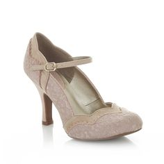 Ruby Shoo Rose Pink Lace Overlay  Mary Jane Heels