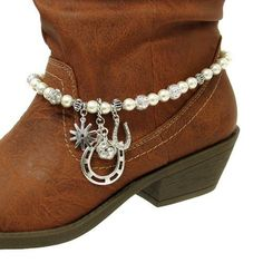Fashion Jewelry ~ Faux Pearls and Silver Beads Chain Boot Charm ~ Western Theme Accents with Horse Shoe Charms (Boot Charms 038a) Variety Gift Shop Fashion Jewelry, http://www.amazon.com/dp/B009N7N094/ref=cm_sw_r_pi_dp_PQdirb0ZQ54V8