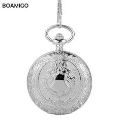 FOB men pocket watches fashion mechanical watch BOAMIGO brand skeleton roman number watches silver chain gift clock reloj hombre