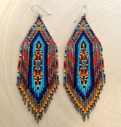 Large Silver with Native Style Earrings Made to par wildmintjewelry
