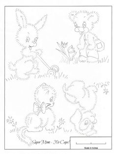 Vintage Embroidery Patterns | Vintage Embroidery Monday – Bunny, Bear, Kitten & Puppy