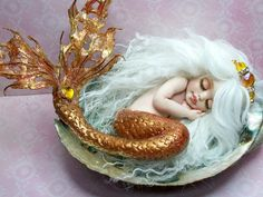 OOAK art doll fantasy mermaid baby polymer clay sculpture