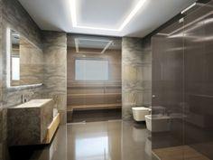 salle de bain ultra moderne avec sauna et murs en pierre naturelle