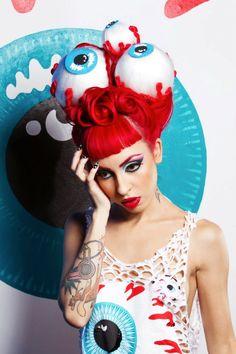 Halloween Hair and Makeup Inspiration - Rainbow Hair Colour