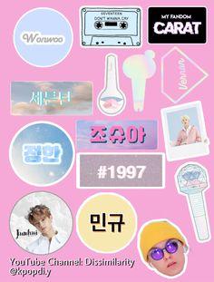 Kpop Tattoos, Seventeen Wallpapers, Printable Stickers, Kpop Aesthetic, Printables, Fan Art, Journal Ideas, Diys, Youtube