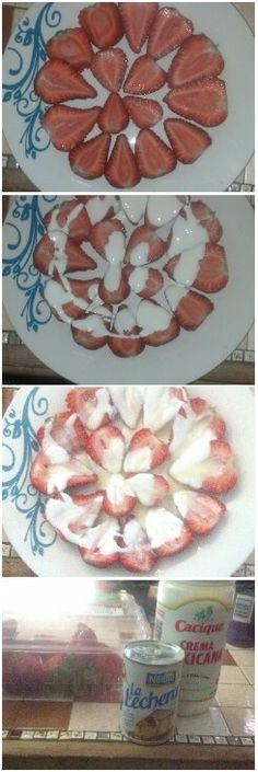 i made this strawberries and cream with la lechera and mexican cream super easy dessert and tastes great!!÷