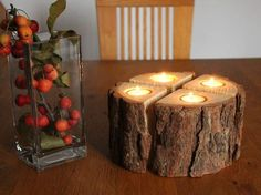 Advent wreath + candlestick + wood + with + tree bark ++ by + Atelier + attention to detail + on + D … - Holz Diy Candles, Tea Light Candles, Tea Lights, Tree Crafts, Fun Crafts, Diy And Crafts, Wooden Candle Holders, Advent Wreath, Wood Burning Patterns