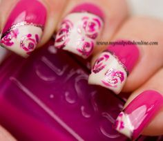United in Pink – Nail Art – Roses - My Nail Polish Online Rose Nail Art, Pink Nail Art, Rose Nails, Pink Nails, Hair And Nails, My Nails, Nail Polish Online, Different Nail Shapes, Happy Nails