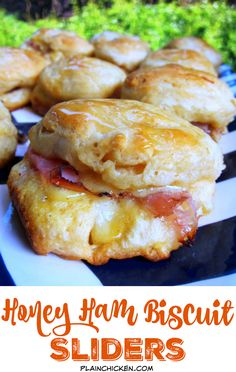 Honey Ham Biscuit Sliders Recipe - refrigerated biscuits, stuffed with ham, swiss, honey mustard and baked. Brush with honey when they are hot. SO good! Great for breakfast lunch or dinner. These are always a hit!