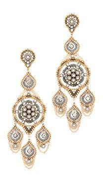 Miguel Ases Ornate Stone Chandelier Earrings