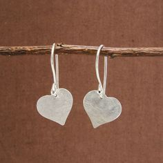 Brushed Heart Earrings, sterling silver plated. #Handmade in Bali. #fairtrade #worldfinds #valentinesday