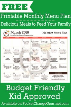 March Monthly Menu Plan!