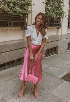 Sally satin silk midi slip dress in baby pink in 2019 Pink Skirt Outfits, Midi Skirt Outfit, Spring Outfits, Dress Skirt, Slip Dress Outfit, Pink Midi Skirt, Slip Dresses, Midi Skirts, Pink Silk Dress