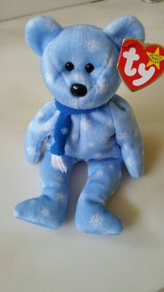 22a0bc5a3c8 Holiday Bear Original Ty Beanie Baby Blue Snowflake Collectible Plush Girl  Boy…