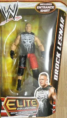 "WWE Elite Series 19 Brock Lesnar Action Figure by Mattel. $24.99. From the Manufacturer                World Wrestling Entertainment Figure Series #19: Bring home the action of the WWE. Kids can recreate their favorite matches with these 7"" figures created in Superstar scale. Figure offers extreme articulation, amazing accuracy and authentic details like arm bands and tattoos. This WWE Collection line consists of 72 different figures each year, with a series of 6 ..."