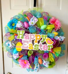 LARGE Happy Easter Wreath  Easter Mesh Wreath  by SparkleWithStyle