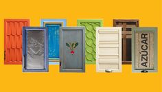 Assortment of 8 cabinet door makeovers - love the painted and geometric ones!