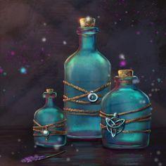 ArtStation - magic bottles, Olha Vikhrenko