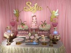 Pretty dessert table at a fairy birthday party! See more party ideas at CatchMyParty.com!
