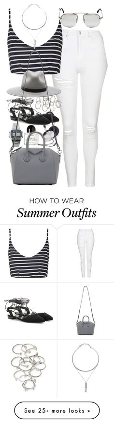 """Outfit for summer with white jeans"" by ferned on Polyvore featuring Topshop, Forever 21, rag & bone, Casio, Yves Saint Laurent, Byredo, Prada and Givenchy"