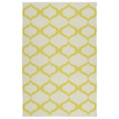 Kaleen Rugs Indoor/Outdoor Laguna Ivory and Yellow Geo Flat-Weave Rug (5'0 x 7'6) (5'0 x 7'6), Size 5' x 7'6 (Polyester, Geometric)